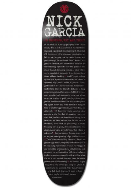 Element Skateboard Decks Garcia Type Press black Vorderansicht 0230426