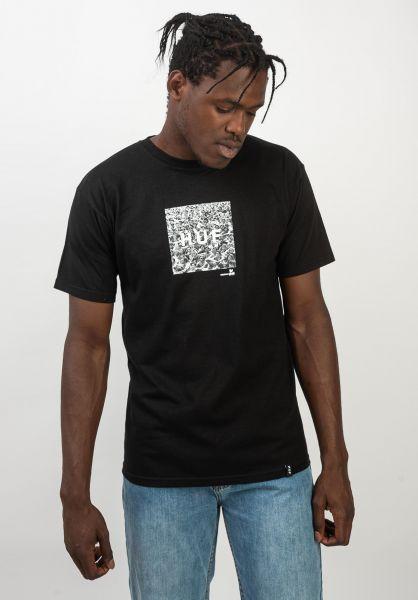 HUF T-Shirts x Woodstock Box Logo black vorderansicht 0320648