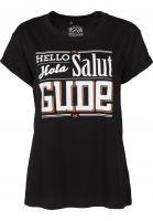 GUDE-T-Shirts-Hello-Hola-Salut-GUDE-Girlie-black-Vorderansicht