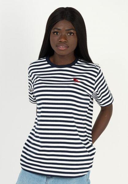 Cleptomanicx T-Shirts Gull Stripe 2 darknavy vorderansicht 0322801
