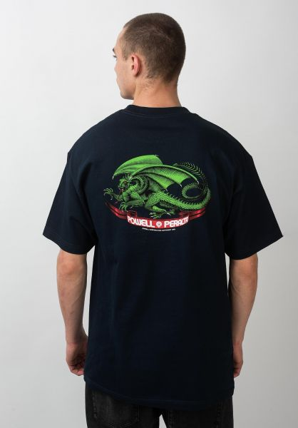 Powell-Peralta T-Shirts Oval Dragon navy vorderansicht 0037557