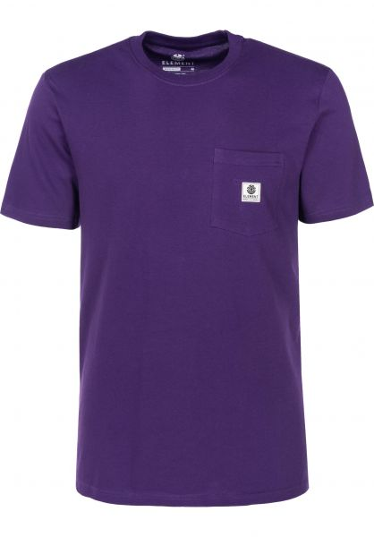 Element T-Shirts Basic Pocket Label purple Vorderansicht