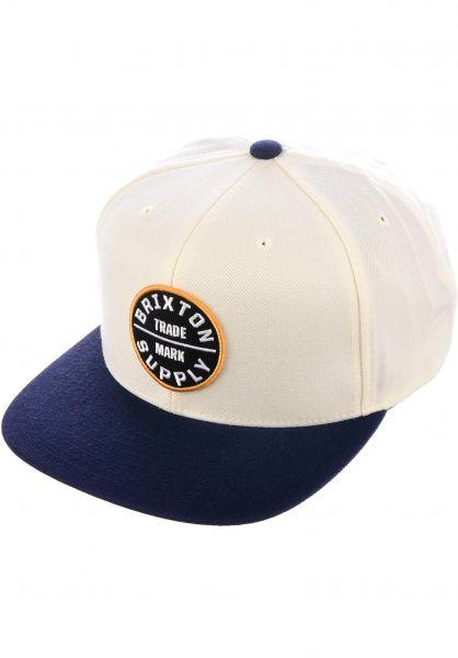 Brixton Caps Oath III offwhite-navy-gold Vorderansicht
