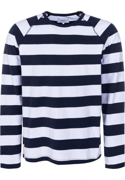 Makia Longsleeves Keel navy-white vorderansicht 0383073