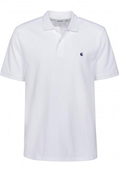 Carhartt WIP Polo-Shirts Madison white-blue Vorderansicht
