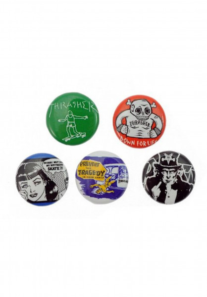 Thrasher Verschiedenes Usual-Suspects-Buttons-5er no color Vorderansicht