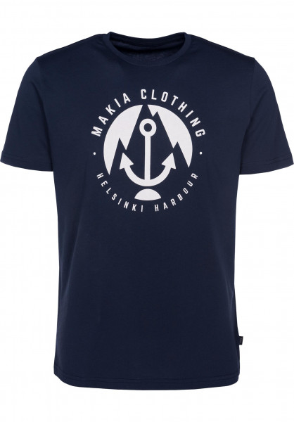 Makia T-Shirts Harbour navy Vorderansicht