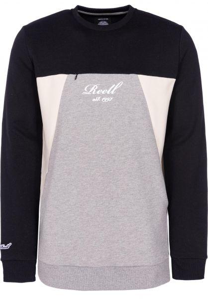 Reell Sweatshirts und Pullover Color Block Crew black-greymelange-cream vorderansicht 0422651