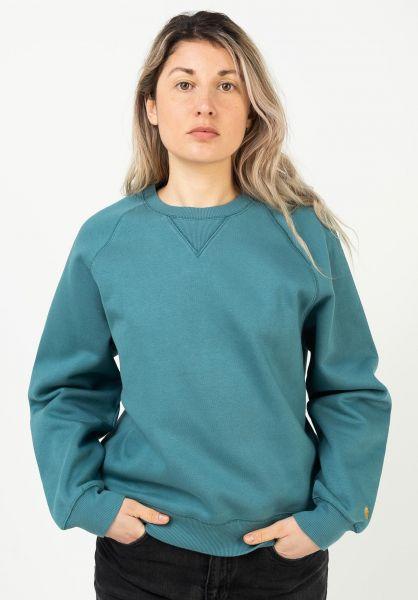 Carhartt WIP Sweatshirts und Pullover W´ Chasy hydro-gold vorderansicht 0422331