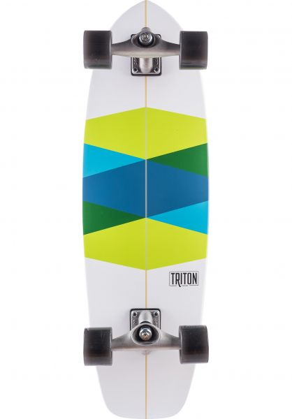 Triton Skateboards Cruiser komplett Green Glass Surfskate white-green-blue Vorderansicht