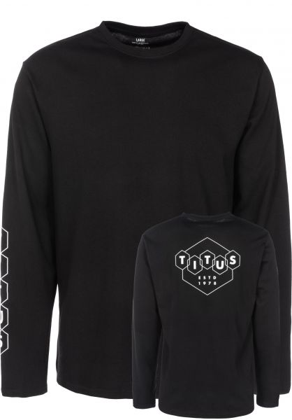 TITUS Longsleeves ESTD-Backprint black vorderansicht 0411755