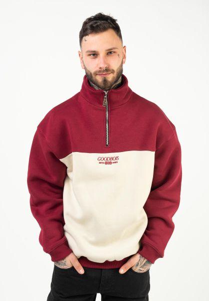 Goodbois Sweatshirts und Pullover Trademark Block Half Zip burgundy vorderansicht 0423138