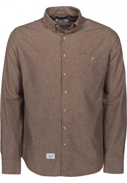 Reell Hemden langarm Brushed Shirt brown Vorderansicht
