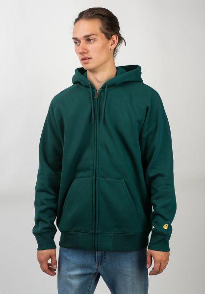Carhartt WIP Zip-Hoodies Hooded Chase Jacket darkfir-gold vorderansicht 0453004