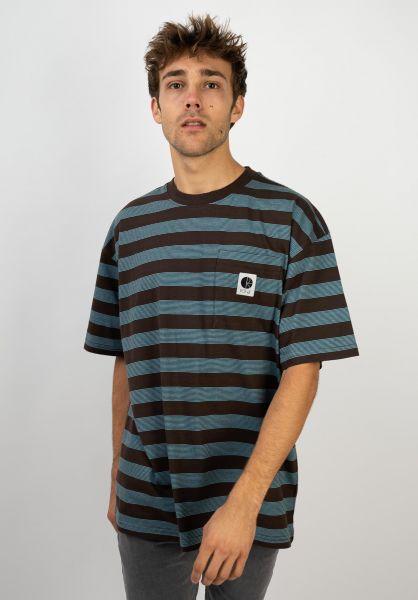 Polar Skate Co T-Shirts Stripe Pocket brown-blue vorderansicht 0397936