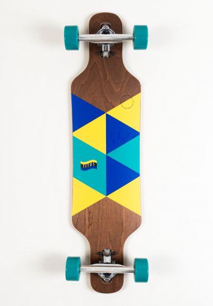 TITUS Longboards komplett Triangle DT Kids brown-blue-yellow vorderansicht 0194301