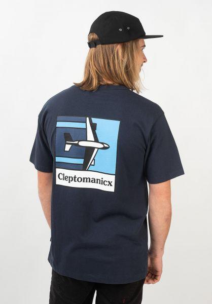 Cleptomanicx T-Shirts Plane darknavy vorderansicht 0321354