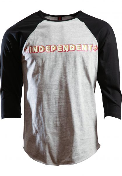 Independent Longsleeves Sign Paint Baseball black-heathergrey Vorderansicht