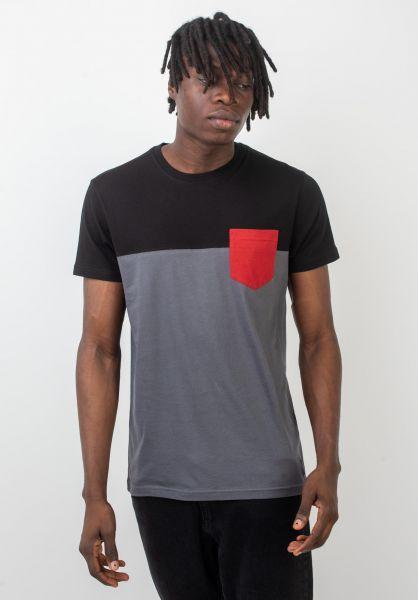 iriedaily T-Shirts Block Pocket 2 black-red vorderansicht 0397458