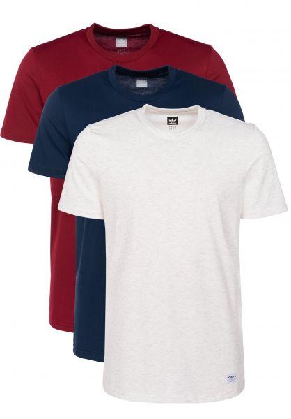 adidas-skateboarding T-Shirts 3 Pack Climalite pale-navy-burgundy Vorderansicht