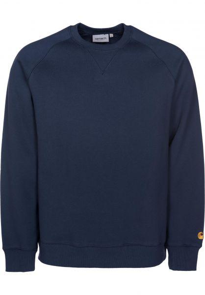 Carhartt WIP Sweatshirts und Pullover Chase blue-gold Vorderansicht