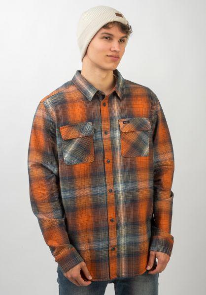 RVCA Hemden langarm Muir Flannel rustorange vorderansicht 0411950