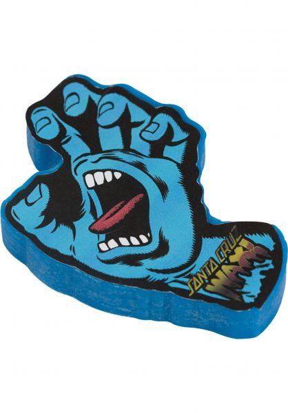 Santa-Cruz Skate-Wachs Screaming Hand Curb Wax blue Vorderansicht
