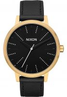 nixon-uhren-the-kensington-leather-gold-black-silver-vorderansicht-0810140