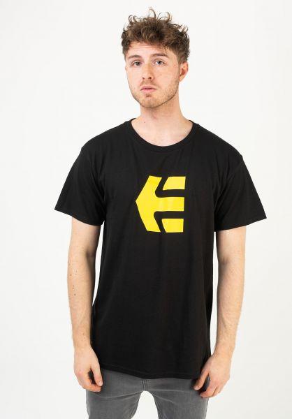 etnies T-Shirts Icon black-yellow vorderansicht 0320045