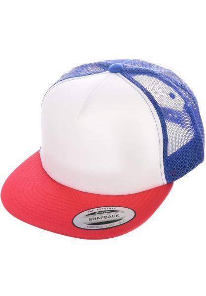 Flexfit Caps Foam Trucker Flat red-white-royal vorderansicht 0566386