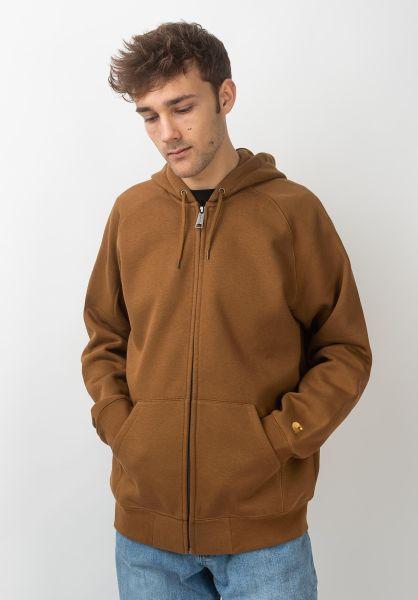 Carhartt WIP Zip-Hoodies Hooded Chase Jacket hamiltonbrown-gold vorderansicht 0453004