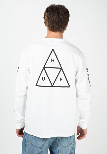 HUF Longsleeves Triple Triangle white vorderansicht 0382746