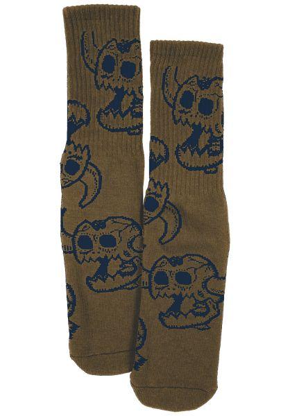 Toy-Machine Socken Skull Monster olive vorderansicht 0630881