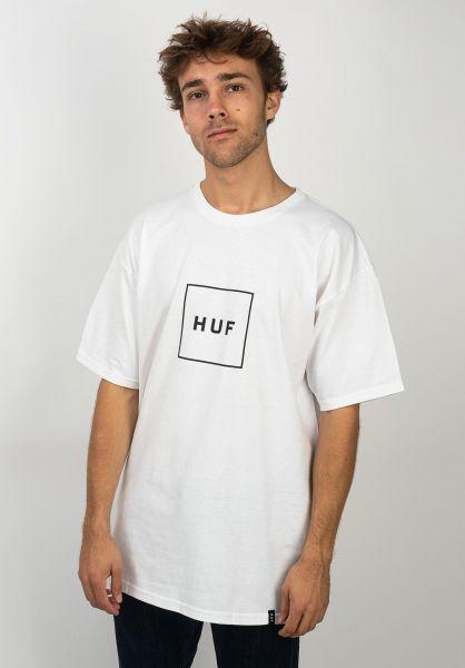 HUF T-Shirts Box Logo white vorderansicht 0397941