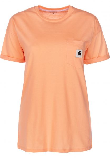 Carhartt WIP T-Shirts W' S/S Carrie Pocket peach-ashheather vorderansicht 0395055