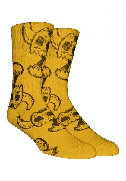 Toy-Machine Socken Monster Skull mustard vorderansicht 0631604