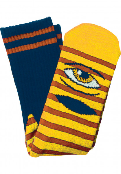 Toy-Machine Socken Sect Eye Stripe yellow-navy Vorderansicht