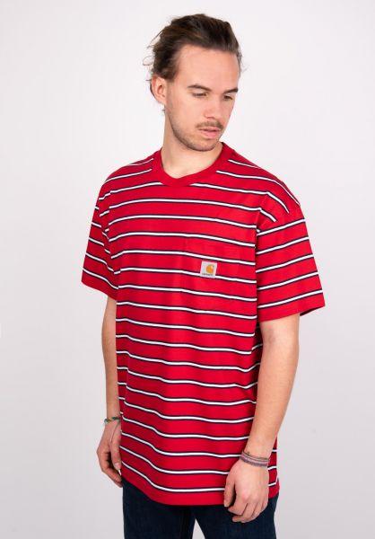 Carhartt WIP T-Shirts Houston Pocket houstonstripe-cardinal vorderansicht 0399704