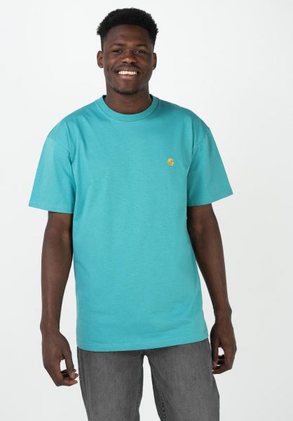 Carhartt WIP T-Shirts Chase frostedturquoise-gold vorderansicht 0396618