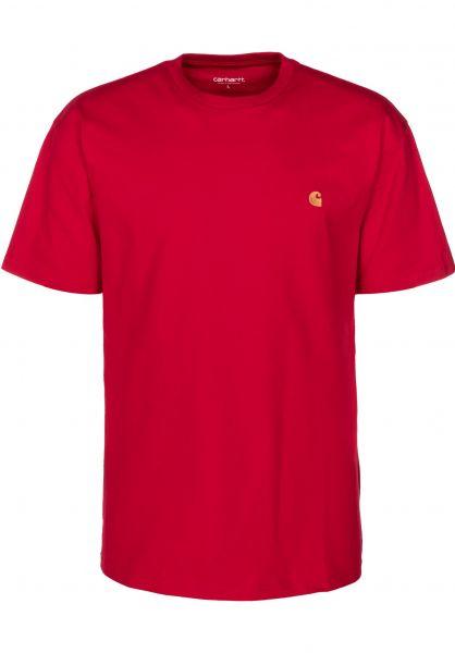 Carhartt WIP T-Shirts Chase cardinal-gold vorderansicht 0396618