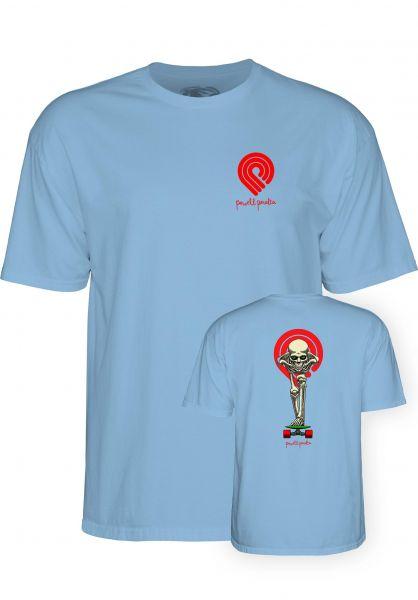 Powell-Peralta T-Shirts Tucking Skeleton powder-blue vorderansicht 0398314