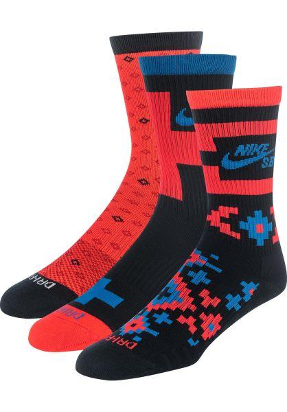 Nike SB Socken Everyday Max 3 Pack multi-crimsonred vorderansicht 0631793