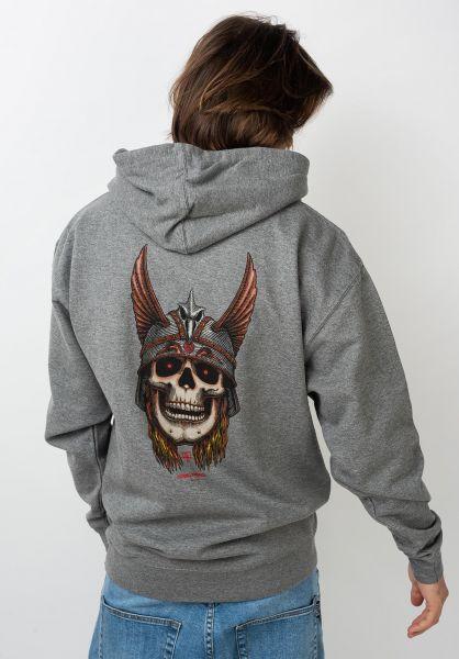Powell-Peralta Hoodies Andy Anderson Skull gunmetal-heather vorderansicht 0445651