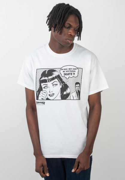 Thrasher T-Shirts Boyfriend white vorderansicht 0370005