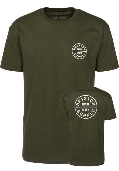 Brixton T-Shirts Oath olive-white Vorderansicht