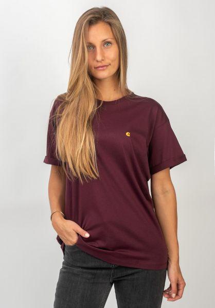 Carhartt WIP T-Shirts W´ S/S Chasy merlot-gold vorderansicht 0396548