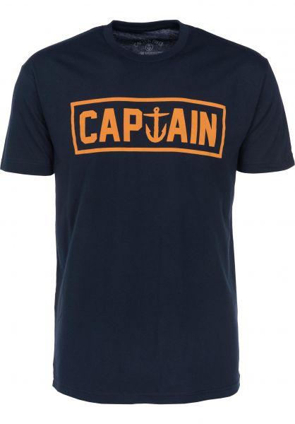 Captain Fin T-Shirts Naval Captain navy-gold Vorderansicht