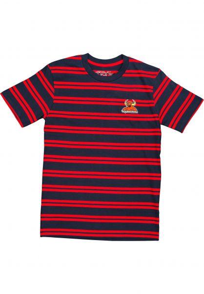 Toy-Machine T-Shirts Striped Embroidered Monster navy-red vorderansicht 0323284