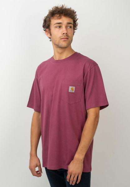Carhartt WIP T-Shirts Pocket dustyfuchsia vorderansicht 0393365