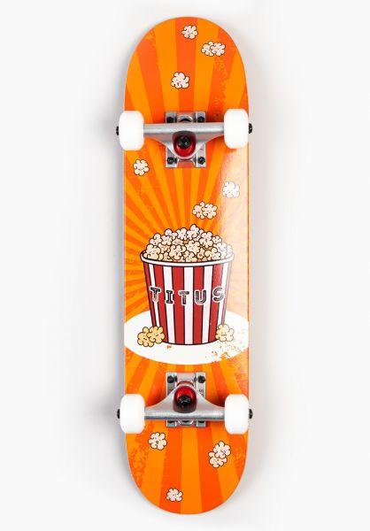 TITUS Kinder Skateboard komplett Popcorn Micro Kids orange vorderansicht 0161951
